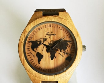 Wooden Watch, World Map Watch, Wood Watches, Mens Watch, Personalized Watch, Groomsmen Gift, Travel Gift, Unique, Leather Watch, SALE !
