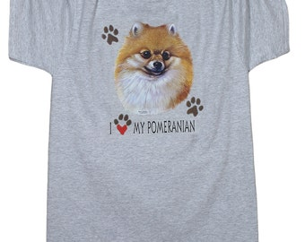 Pomeranian tshirt with 2 paw prints on sleeve, dog lover, Pom gift, I love my Pomeranian shirt, pet lover gift, dog mom gift