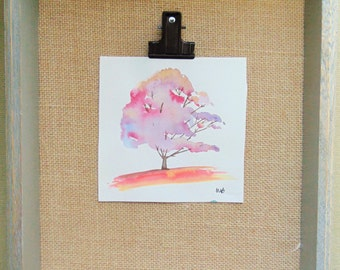 Whimsical Colorful Tree, Original Watercolor Painting, Home Decor