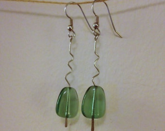 green glass zigzag drop earrings