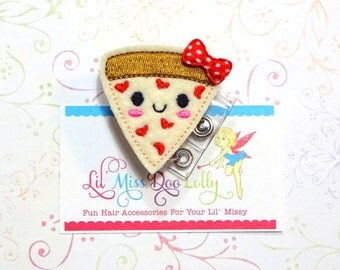 Pizza ID Badge-Embroidered Felt Badge Reel-Pizza Badge- Felt Applique-Retractable ID Badge Holder- Badge Reel Clip (Set of 1)