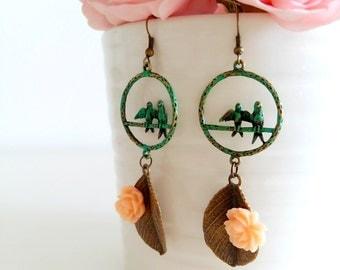 Rustic Antique Bronze Earrings, Love Birds Earrings, Leaf & Flower Earrings, Gift for her, Nature Earrings, Boho Earrings, Wedding Earrings