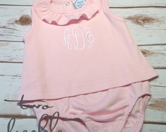 SALE! Monogrammed Romper, Monogrammed Dress, Monogrammed Baby Dress, Monogrammed Bodysuit