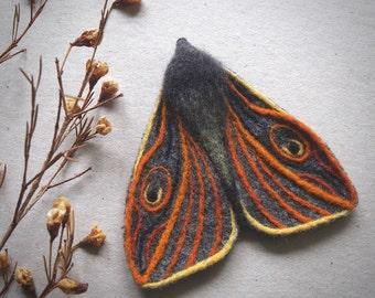 needle felted moth brooch - textile moth - needle felted butterfly brooch - moth jewellery - fibre moth - art deco - art nouveau moth - UK