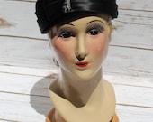 Genuine Velour Womens Hat Mid Century Fashion Pill Box Hat Cloche Black Satin Rhinestone Pin 1950's Vintage Accessory