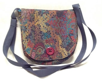 Adult purse: Small purple purse with multicoloured design