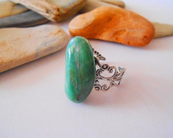Green agate ring Adjustable ring Antique silver Filigree ring Green stone ring Large Chunky green ring One of a Kind Natural Gemstone ring