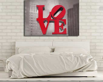 LOVE Canvas Print, Romantic Wall Art, Love Sculpture, Philadelphia Love, Red, Black and White, Philadelphia Print