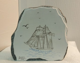 Small Ceramic Rock with Handpainted Ship Scene