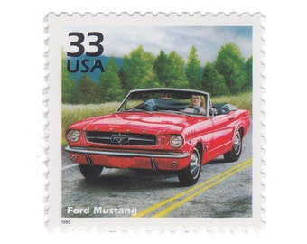 5 Unused Vintage US Postage Stamps - 1999 Celebrate the Century 1960s Series - 33c Ford Mustang - Item No. 3188h