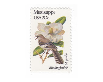 1982 Mississippi - Mockingbird & Magnolia - Vintage Postage Stamps - 10 Unused 20c US Stamps - Item No. 1976