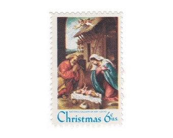 1970 6c Lotto's Nativity - 10 Unused Vintage Christmas Postage Stamps - Item No. 1414