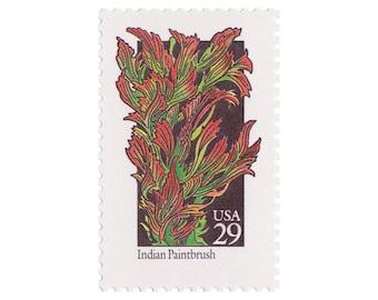 1992 29c Wildflower Postage - Indian Paintbrush - 10 Unused Vintage Postage Stamps - Item No. 2647