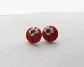 Red Flower Button Earrings / Vintage Fabric Button Earrings