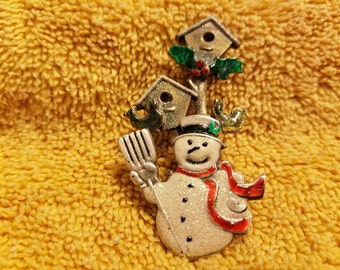 Vintage Snowman and Birdhouse Brooch/Pin