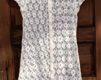 Adorable Vintage 90's White Lace Doily Semi Sheer Mini Dress by Hot and Delicious