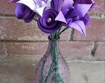 Purple Origami Flower Arrangement
