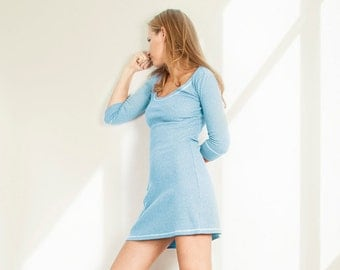 Home dress Cotton dress Knit dress Day dress Cute dress Light blue dress