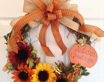 Autumn Wreath / Fall Wreath / Sunflower Wreath / Grapevine Autumn Wreath / Fall Colors Wreath / Plaid Sunflower Rustic Wreath / Handmade