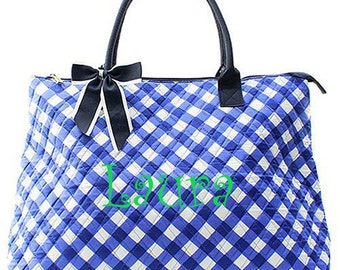 Monogrammed Navy Gingham Plaid Large Quilted Tote Bag  Monogrammed Tote Bag  Monogrammed Tote