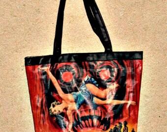 Eco-Friendly Rice Sack Tote Bag - Handmade - Retro Vintage Movie Images-Zombies