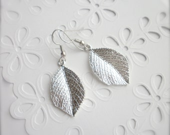 Silver Leaf Earrings, Large Dangle Leaf Earrings, Leaf Earrings, Dangle Woodland Jewellery, Wedding, Bridesmaid, Romantic, Gift for Her