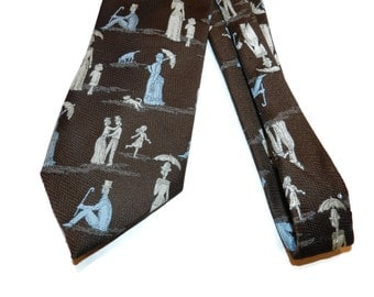Custom Cravatieur A Sunday Afternoon on the Island of La Grande Jatte By Georges-Pierre Seurat, Art Tie, Nylon, Qiana, People In Park