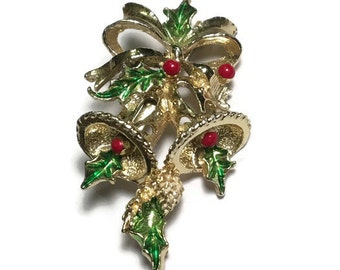 Holly Bell Brooch Signed Gerrys, Christmas Pin, xmas Jewelry, Holiday Bow,