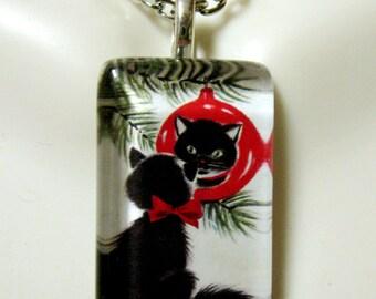 Black Christmas kitty pendant and chain - CGP09-061