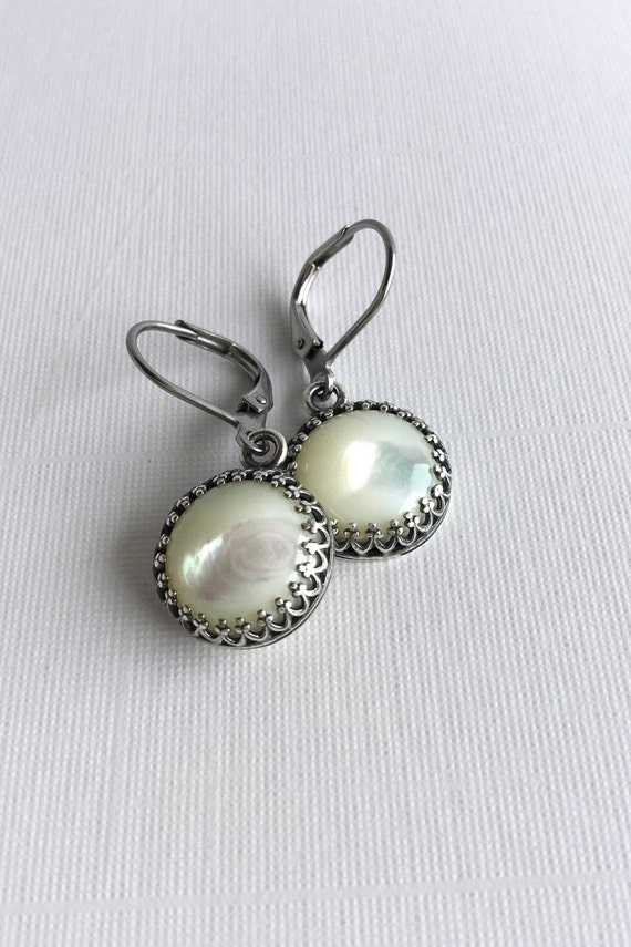 Mother Of Pearl Earrings Antique Silver Jewelry
