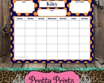 Dry Erase Board - Navy - Orange - Dots - Personalized Calendar - Dry Erase Calendar