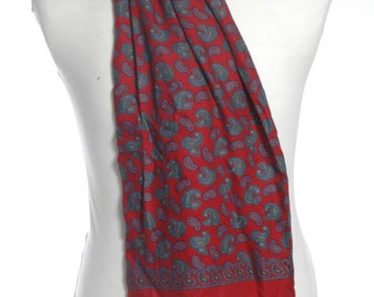 Vintage 1960's Tootal Red Paisley Scarf - www.brickvintage.com
