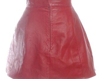 Vintage 1970's St Michael Red Leather Mini Skirt W28 12 - www.brickvintage.com