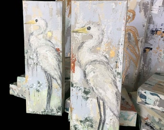 """Egret Knife Painting, The Louisiana Collection, 4""""x12"""", Heavy Texture"""