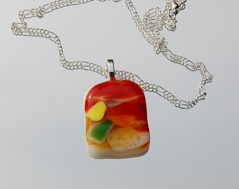 Fused Glass Pendant,jewlery,orange,yellow,green,white,fused glass necklace