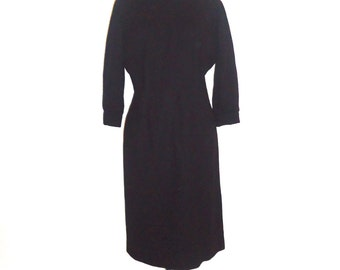 50s 60s Black Wool Dress High Neck Wiggle Dress Size L by Helen Whiting Inc.