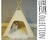 """Luxe Fur Collection - Dog/Cat Teepee Pet Tent -Small 24"""" - Grey, Black or Natural Canvas  by Vintage Kandy"""