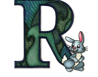 Zentangle of Letter, R Rabbit, or M Monkey, Choose Letter and Size, Baby Shower, Nursery
