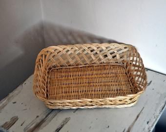 Vintage French Bread basket - Rustic Wicker Rectangular Basket