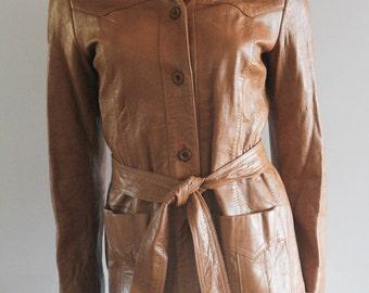 70s Vintage 'California Sportswear' Tan Leather Jacket