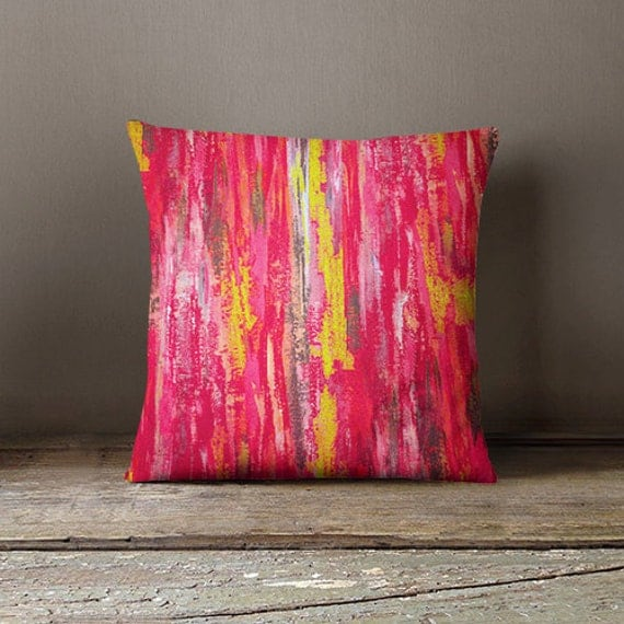 Fuschia Modern Pillows : Abstract Pillow Cover Pink Grey Yellow Fuschia Modern Home Decor Living room bedroom accessories ...