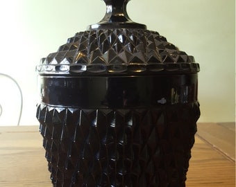 Hollywood  Regency, black diamond, glass ice bucket.