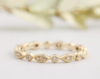 art deco wedding band, diamond eternity ring, 14k gold, conflict free diamond, full eternity, diamond stack rings bri-ado-w102