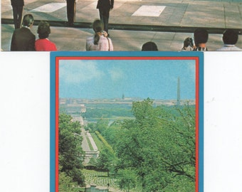 Arlington National Cemetery, 2 Unused c1960s Postcards of John F. Kennedy Grave, Tomb of the Unknown Soldier, good shape