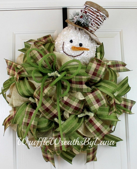 Free shipping winter burlap wreath christmas snowman wreath for Burlap snowman wreath