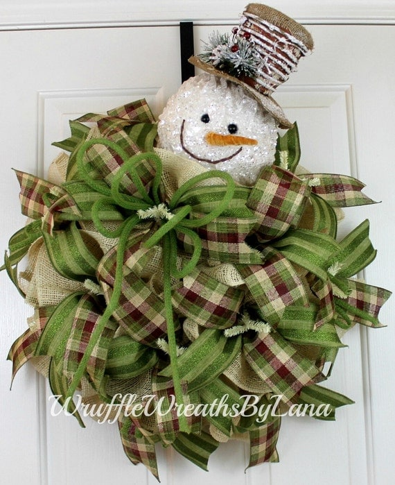 Free shipping winter burlap wreath christmas snowman wreath for Snowman made out of burlap