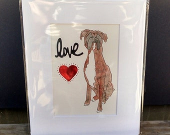 Boxer Dog Love-Original Watcolor-Boxer Heart Love watercolor-limited edition-brindle boxer