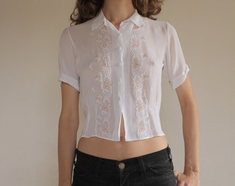 40's sweet roses hand embroidered rayon crepe sheer blouse