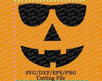 EXCLUSIVE SVG DXF Sunglasses Jack-O-Lantern svg, pumpkin svg, jack o lantern svg, halloween svg, sunglasses svg jack-o-lantern face cut file