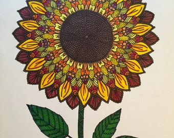 Sunflower Mandala Drawing